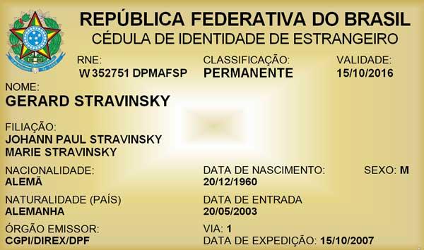 RNE Visa Brésil
